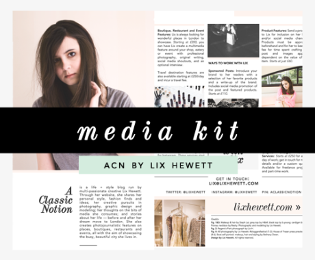 Media Kit Design: Lix Hewett Lifestyle Blog