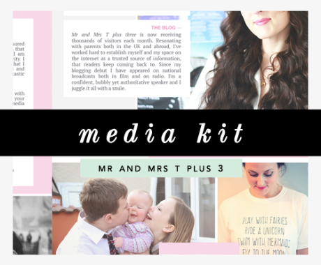 Media Kit Design: Family Blog Mr and Mrs T Plus Three